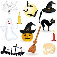 halloween icon pumpkin hat candle spider broom ghost