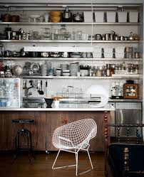 great choice of stainless steel kitchen storage to make kitchen delightful industrial kitchen design with stainless steel shelves and unique white chair idea