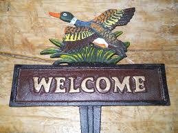 cast iron duck welcome sign garden stake home decor mallard pond