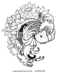 outline koi fish flower stock vector 578204788