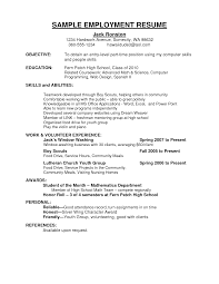 Simple Form Of Resume Job Resumes Examples Resume For Your Job Application