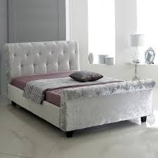 Velvet Sleigh Bed Free Delivery Cbs Barnes Crushed Velvet Sleigh Bedstead Sleigh
