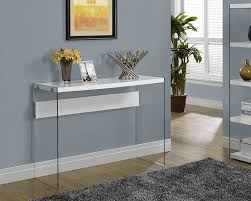 modern console tables with drawers amazon com monarch specialties glossy white hollow core tempered