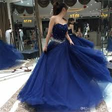 gorgeous navy blue prom dress 2017 ball gown beaded sequins tulle
