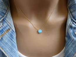blue opal necklace magen david star of david necklace blue opal necklace