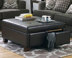 Upholstered Ottoman Coffee Table Living Room Furniture Living Room And Black Leather Upholstery