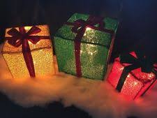 Outdoor Lighted Tinsel Christmas Decorations by Lighted Christmas Gift Box Decorations Ebay