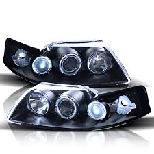 2002 ford mustang headlights black dual halo led projector headlights for ford mustang 99 04