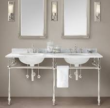 bathroom with console sink featured silver legs charming console