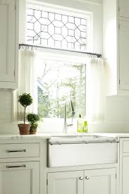 Black And White Kitchen Transitional Kitchen by Best 25 White Kitchen Curtains Ideas On Pinterest Kitchen
