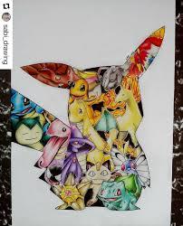 inspirated by artacuno pokemon pikachu bulbasaur