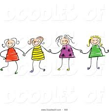 vector clipart of a childs sketch of four stick figure girls