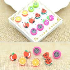 hypoallergenic stud earrings 6 pair pack new summer style fashion handmade polymer fruit