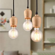 Light Bulb Pendant Fixture Modern Wood Pendant Lights Home Lighting Electric Cord Hanging