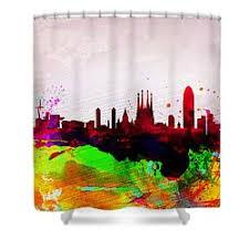 Skyline Shower Curtain Barcelona Skyline Shower Curtains Fine Art America