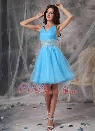 blue v neck beaded short prom dress cross back knee length