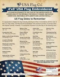 Us Flag Facts Us Flag 4x6 Foot Embroidered Stars U0026 Sewn Stripes Usa Flag Co