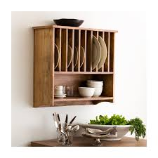 interior mounted birch wood plate racks with cup hooks as well as