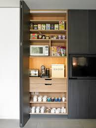 Breakfast Cabinet With Bifold Doors Contemporary Kitchen - Bifold kitchen cabinet doors