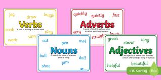 adjectives verbs and adverbs with definition poster pack