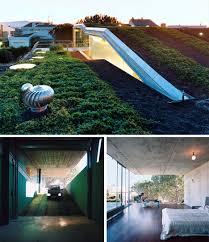 bio beam bridge home 50 foot cantilever green roof deck