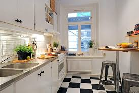 L Shaped Apartment by Small Apartment Kitchen With L Shaped Cabinets Also Apron Sink