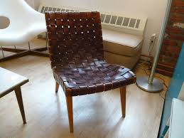 jens risom leather webbed lounge chair for knoll ca 1950 at 1stdibs
