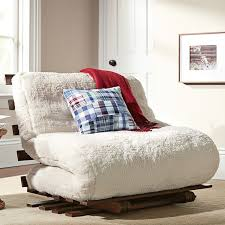 sherpa faux fur fleece futon pbteen