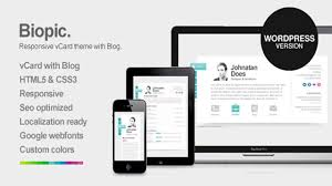 Best Resume Wordpress Theme by Biopic Responsive Vcard Wordpress Theme Website Templates And