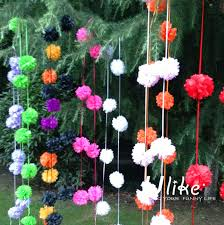 Diy Home Decor Indian Style Favor Tissue Pom Poms Garland Free Shipping 9pcs String 3 5m