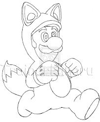 mario raccoon suit luigi coloring sketch coloring page