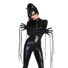 Latex Halloween Costumes Compare Prices Catwoman Cosplay Jumpsuit Shopping Buy
