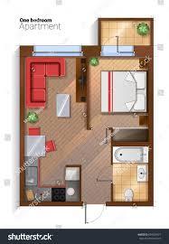 Bedroom With Furniture Vector Top View Illustration One Bedroom Stock Vector 659324557