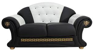 Versace Armchair Versace 2 Seater Sofa Settee Genuine Italian Black White Leather