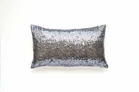 Gray Lumbar Pillow Cover Gunmetal Silver Sequin 12 x 20