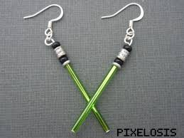 wars earrings shiny green lightsaber earrings wars jewelry luke