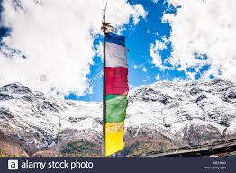 Pics Of Nepal Flag Buddhist Flag Flying In The Annapurna Region Of The Himalayas In