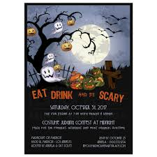 eat drink and be scary a spooky graveyard halloween party invitation