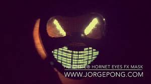Halloween Light Up Costumes New Halloween Mask Horror Hornet Led Eyes Party Villain Robot
