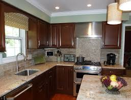 brick backsplash kitchen colonial gold counters with faux brick backsplash traditional