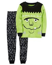 glow in the dark halloween pajamas 2 piece frankenstein snug fit cotton halloween pjs carters com