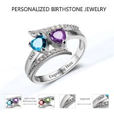 Custom Birthstone Necklace Aliexpress Com Buy Promise Ring Custom Birthstone Ring Engrave