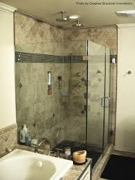 transitional bathroom with heads above and river rock shower floor