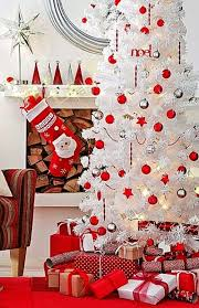 White Christmas Tree Decorations Ideas by White Christmas Tree With Red Decorations U2013 Happy Holidays