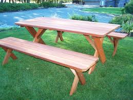 Wooden Picnic Tables With Separate Benches Classic Redwood Picnic Table Set U2013 Wide Plank Style Gold Hill