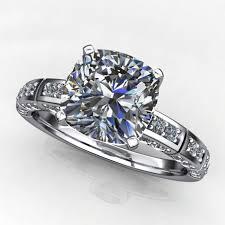 2 engagement rings 2 carat cushion cut neo moissanite engagement ring