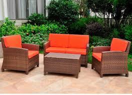 Deep Seating Wicker Patio Furniture - three posts binney wicker resin 4 piece deep seating group with