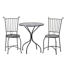 Black Metal Chairs Outdoor Home Locomotion Black Metal Outdoor Garden Patio Table And 2
