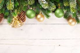 Christmas Background With Pine Tree And Decor Wood With Copy