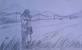 sketch of a hugging couple desipainters com